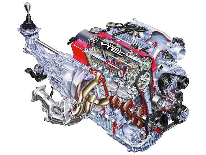 2000 Honda S2000 Roadster engine drawing.
